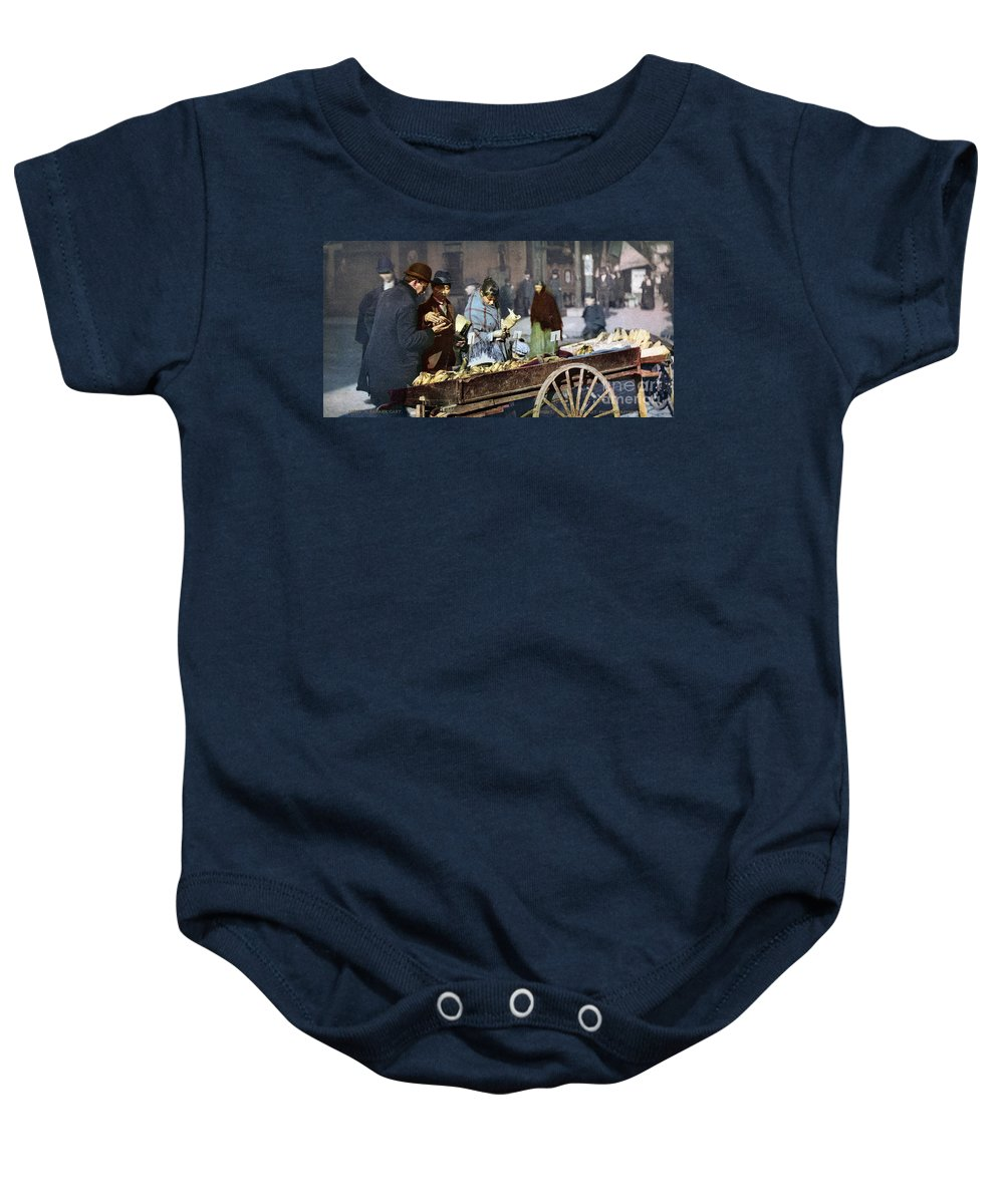 1900 Baby Onesie featuring the photograph New York: Banana Cart by Granger