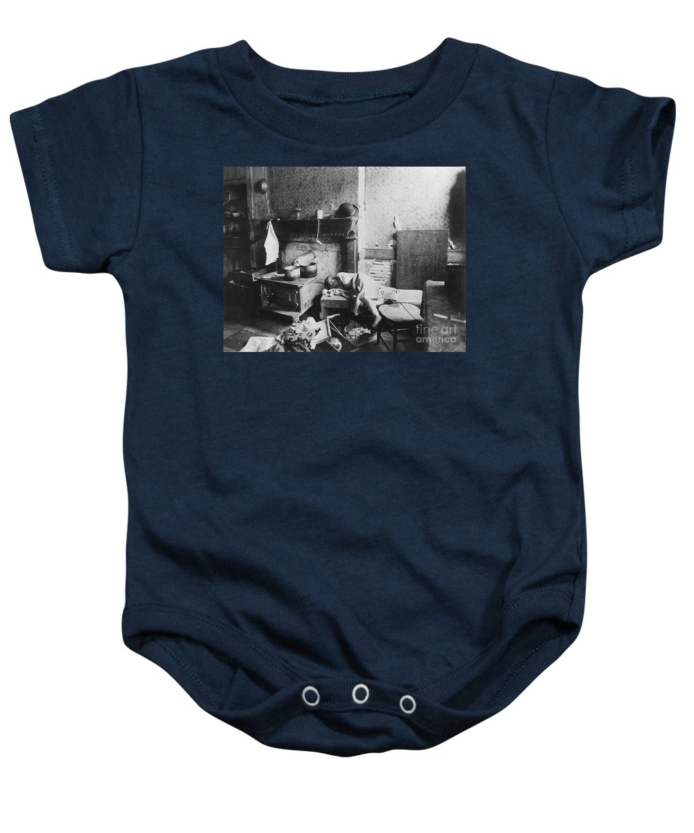 1896 Baby Onesie featuring the photograph New York: Tenement Life by Granger