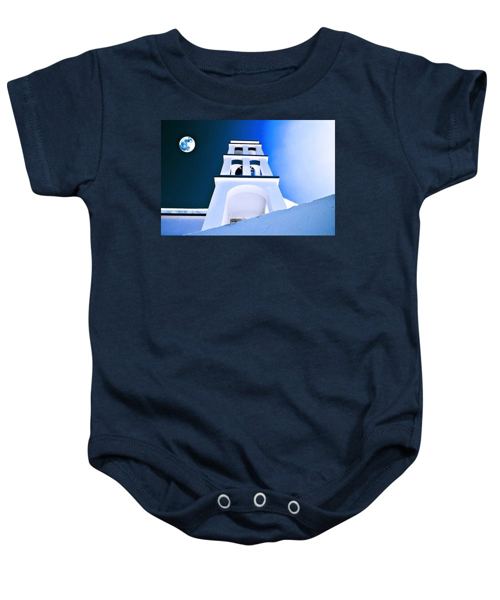 Nature Baby Onesie featuring the painting Night Taking Over The Day Of Church In Greece Crete 2 by Celestial Images