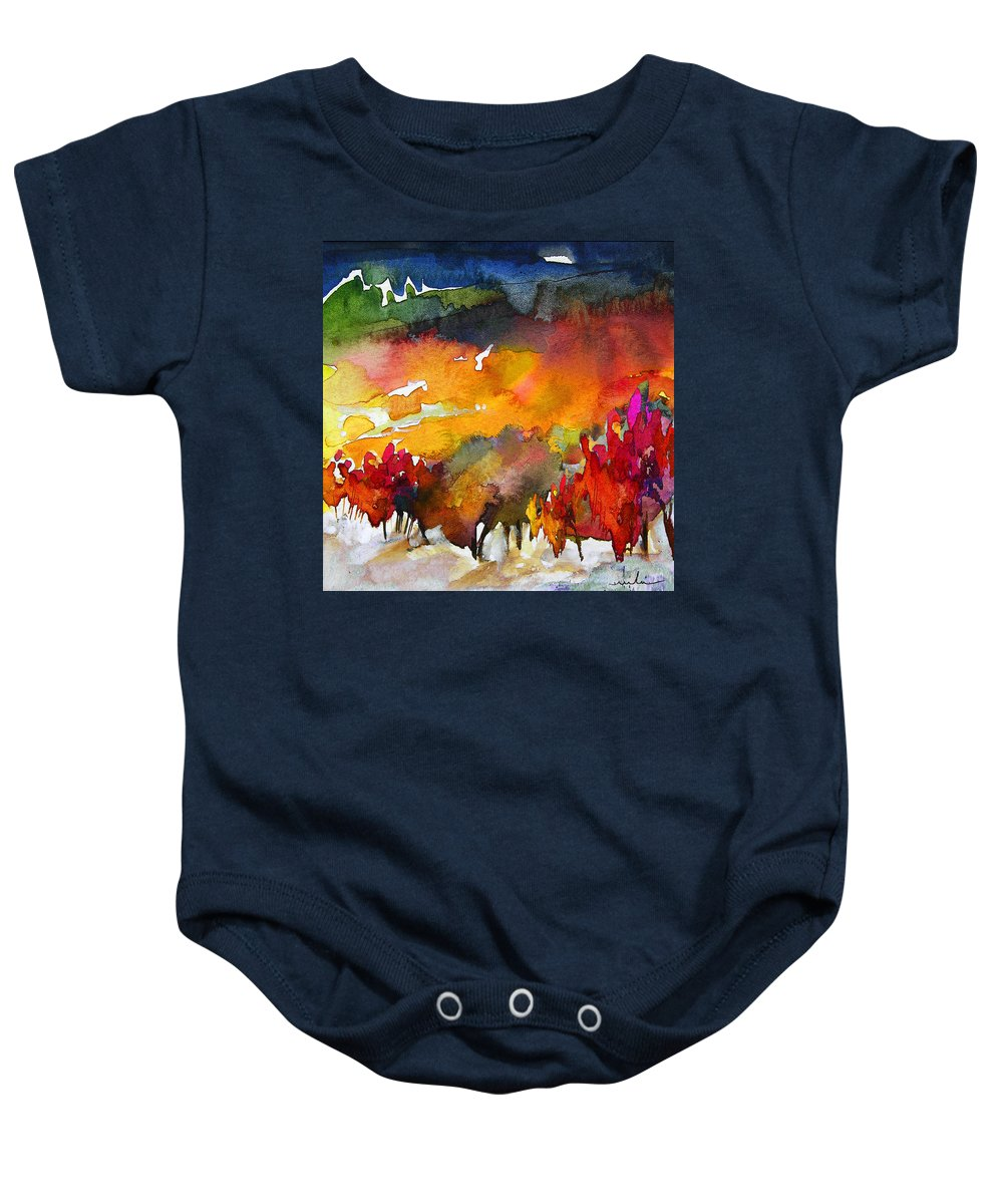 Watercolour Baby Onesie featuring the painting Nightfall 06 by Miki De Goodaboom