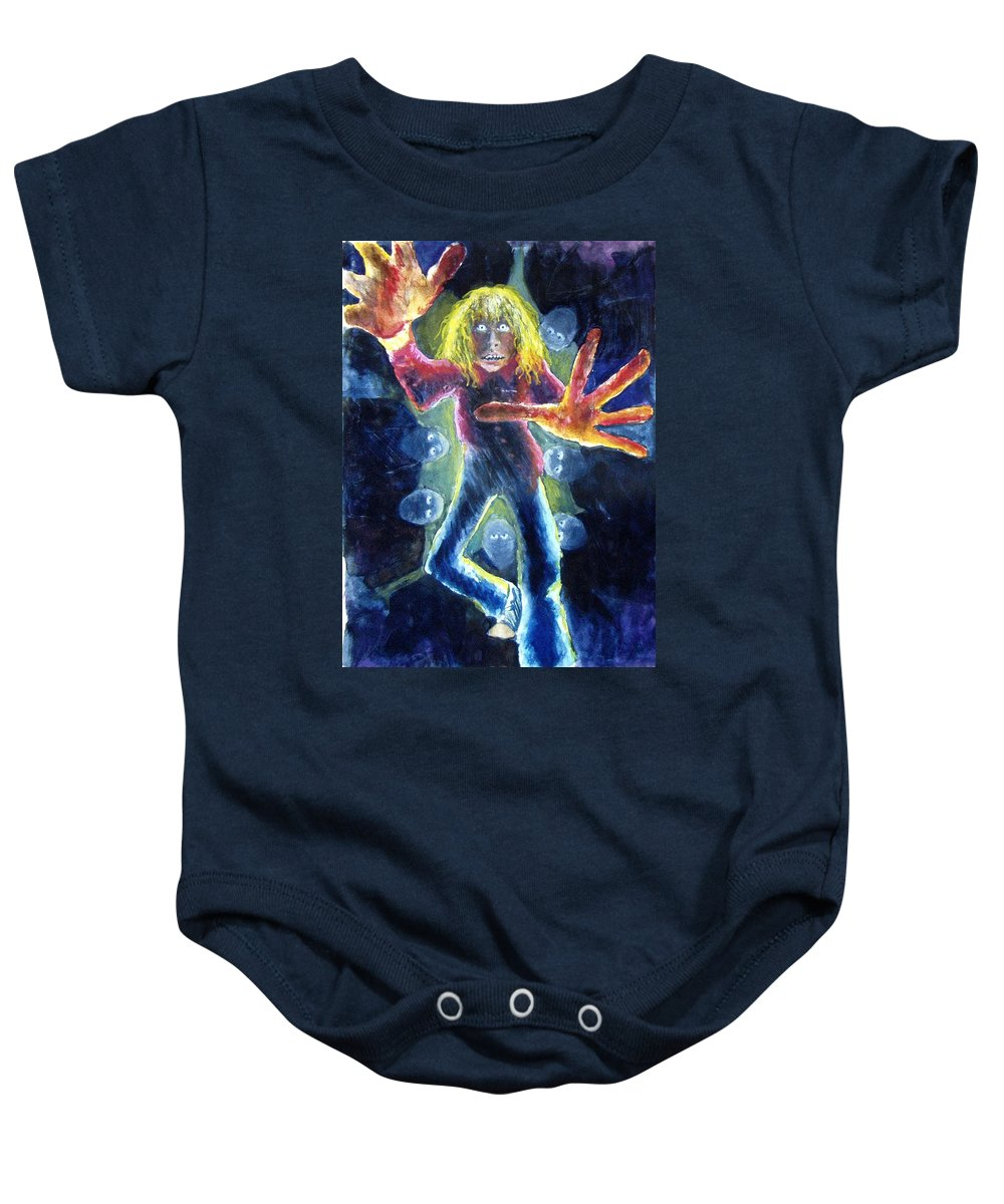 Nightmare Baby Onesie featuring the painting Nightmare by Nancy Mueller