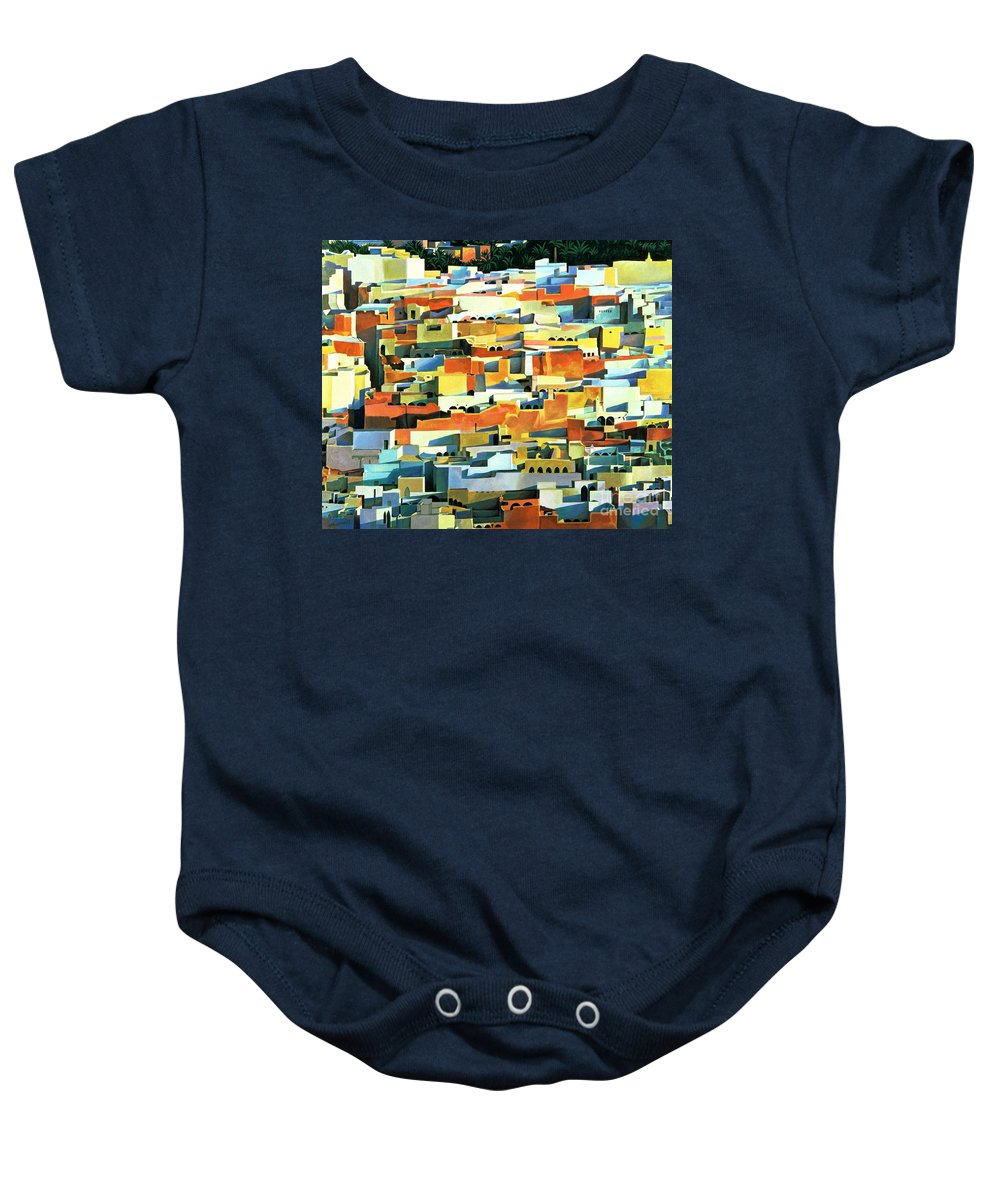 Town; Urban; Flat Roofs; Roof; Africa; Moorish Architecture; African; Townscape; North Africa; Colorful; House; Houses Baby Onesie featuring the painting North African Townscape by Robert Tyndall