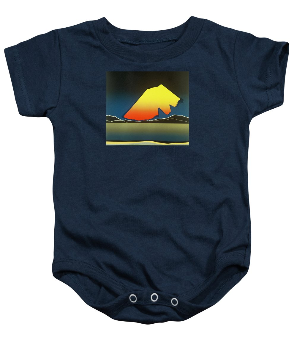 Landscape Baby Onesie featuring the mixed media Northern Light. by Jarle Rosseland