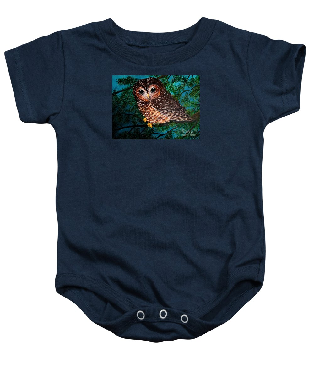 Owl Painting Baby Onesie featuring the painting Northern Spotted Owl by Nick Gustafson