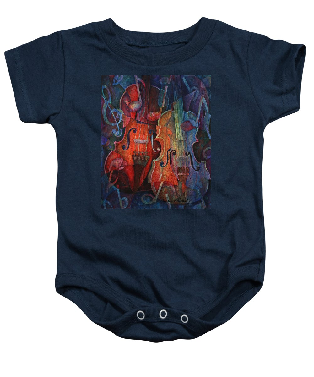 Susanne Clark Baby Onesie featuring the painting Noteworthy - A Viola Duo by Susanne Clark