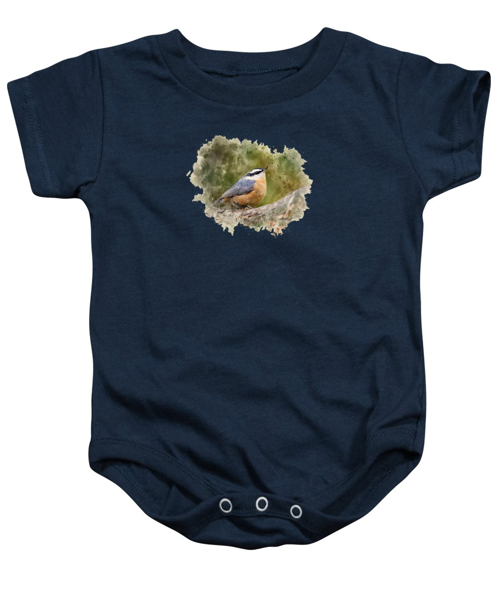 Nuthatch Baby Onesie featuring the mixed media Nuthatch Watercolor Art by Christina Rollo