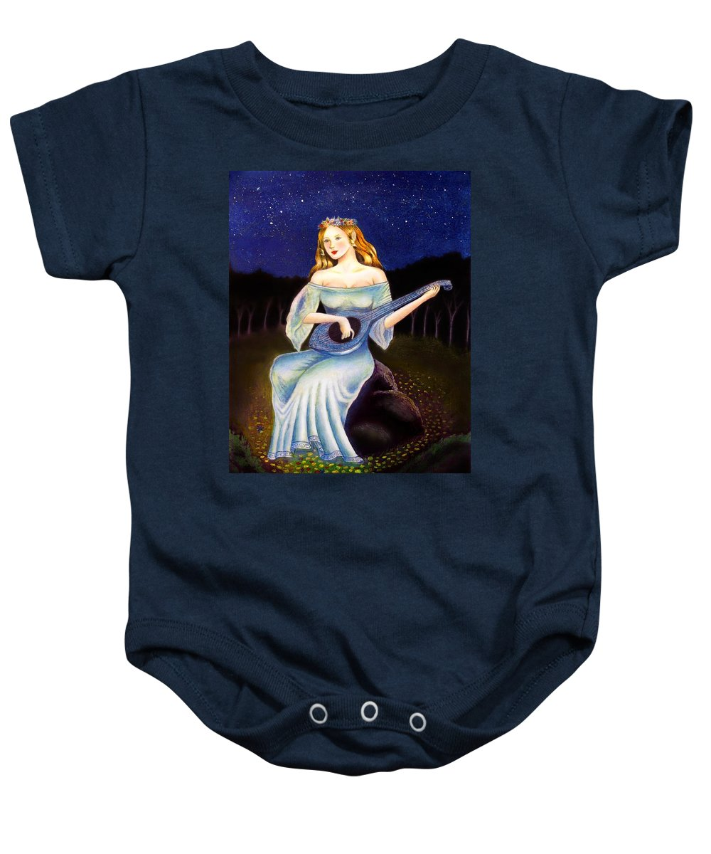 Nymph Baby Onesie featuring the mixed media Nymph by Ilias Patrinos