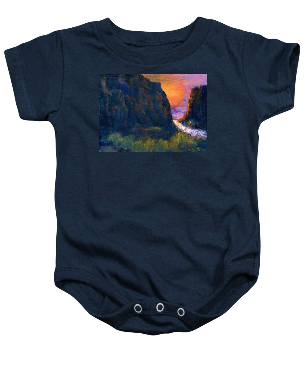 Impressionistic Baby Onesie featuring the painting Oak Creek Canyon by Gail Kirtz