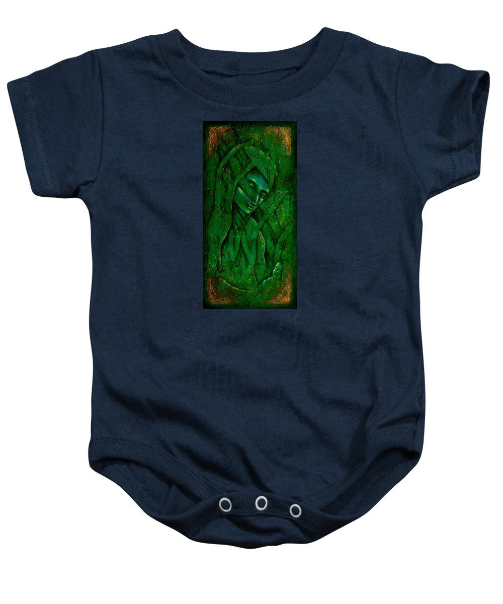 Native American Baby Onesie featuring the painting Ocean Birth by Kevin Chasing Wolf Hutchins
