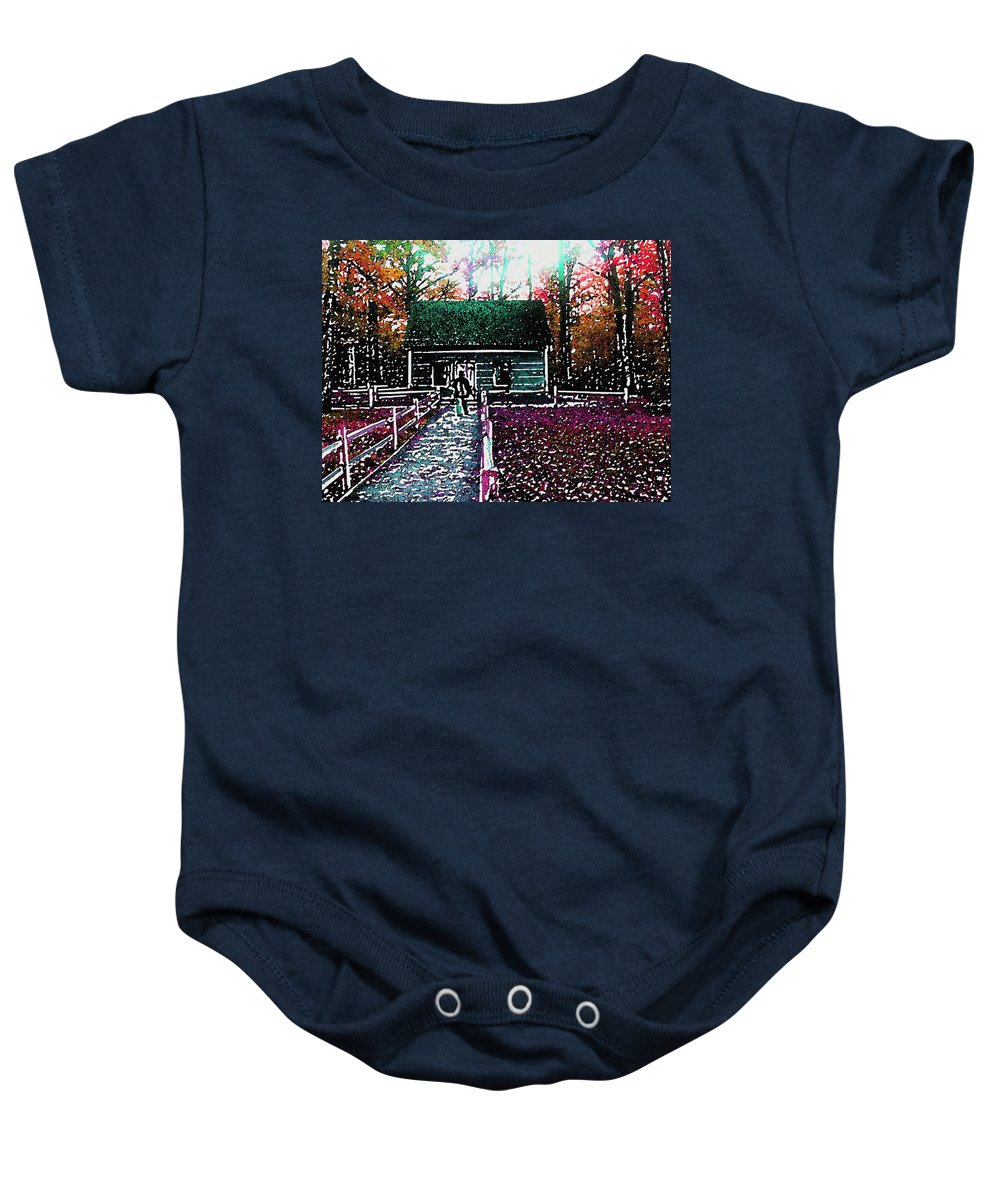 Old Mission Point Baby Onesie featuring the photograph Old Mission Point Cabin by Wayne Potrafka