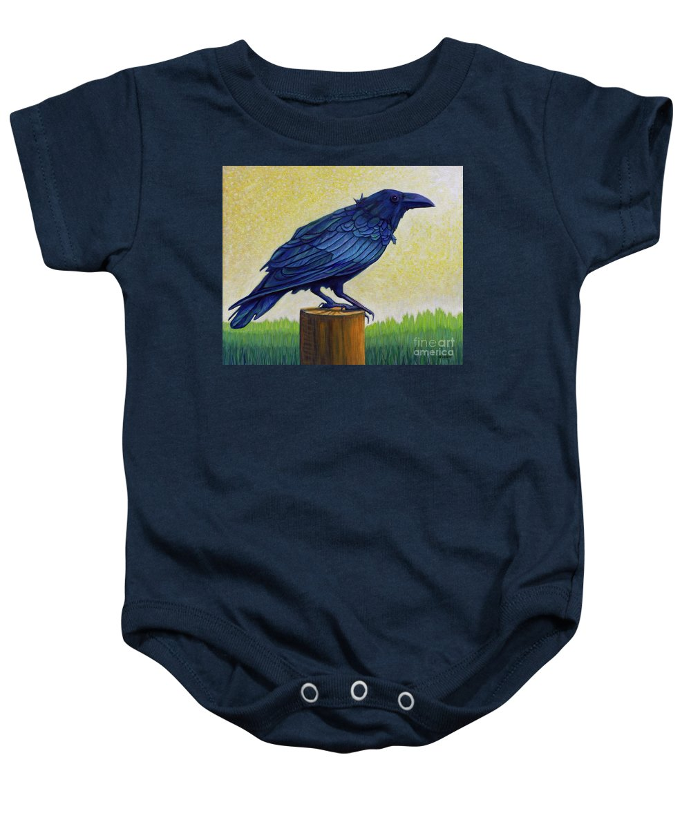 Raven Baby Onesie featuring the painting Old Priest In Passion by Brian Commerford