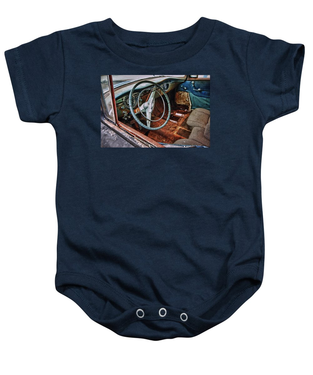 Car Baby Onesie featuring the digital art Olds Interior by Michael Thomas