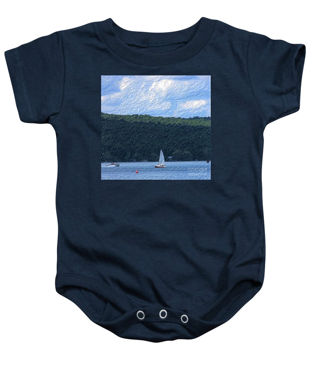 Landscape Baby Onesie featuring the photograph On Cayuga Lake by David Lane