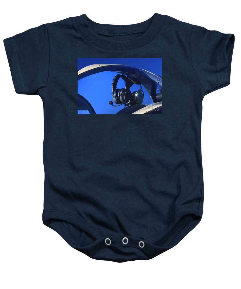 Aircraft Baby Onesie featuring the photograph On Standby by Karol Livote