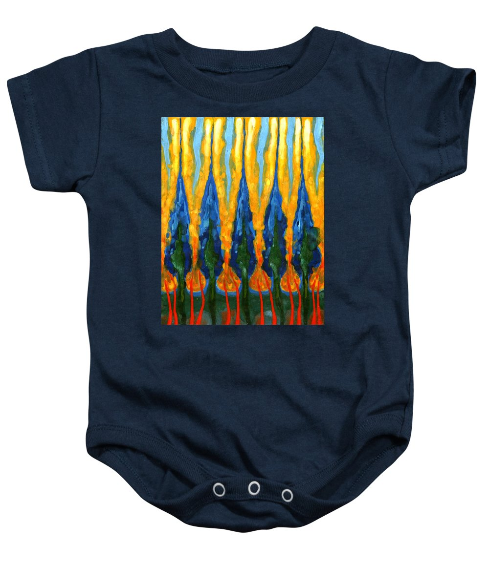 Colour Baby Onesie featuring the painting Ordinary West Of Sun by Wojtek Kowalski