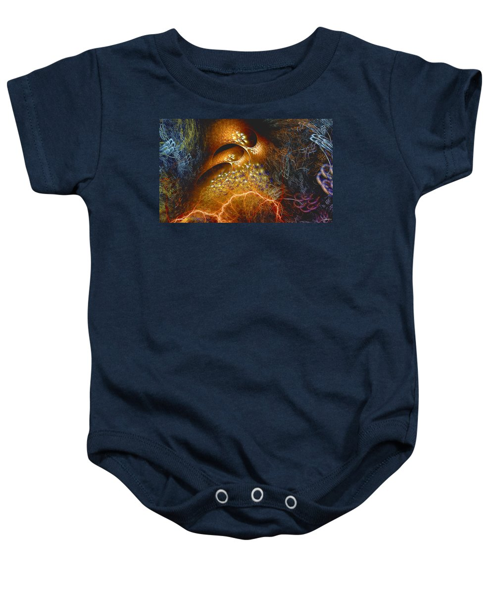 Abstract Baby Onesie featuring the digital art Origination by Casey Kotas