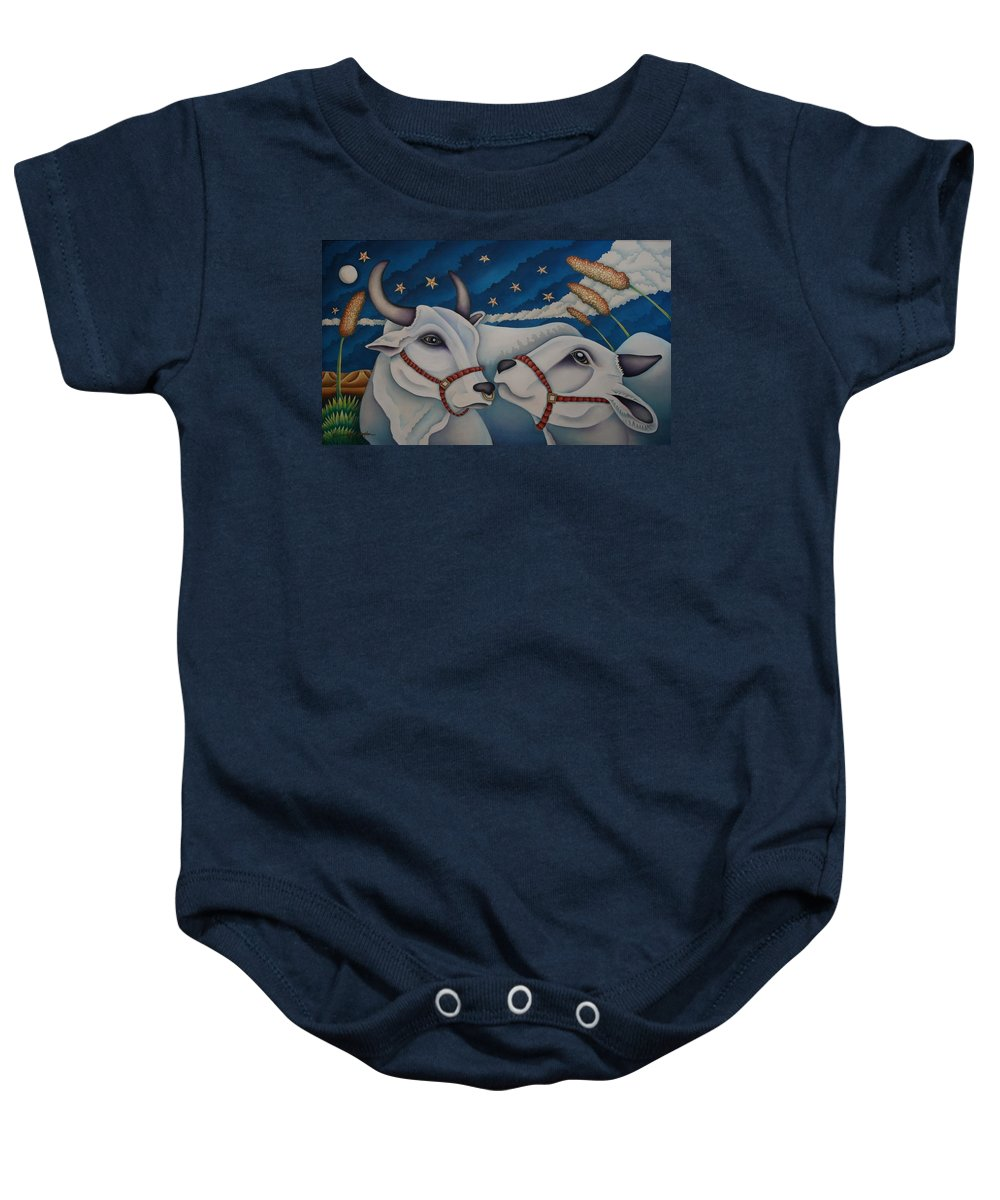 Bulls Baby Onesie featuring the painting Over The Moon by Jeniffer Stapher-Thomas