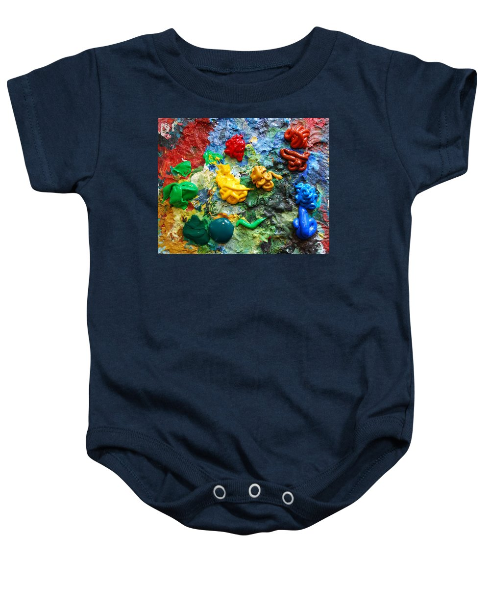 Palette Baby Onesie featuring the photograph Painters Palette by Nancy Mueller