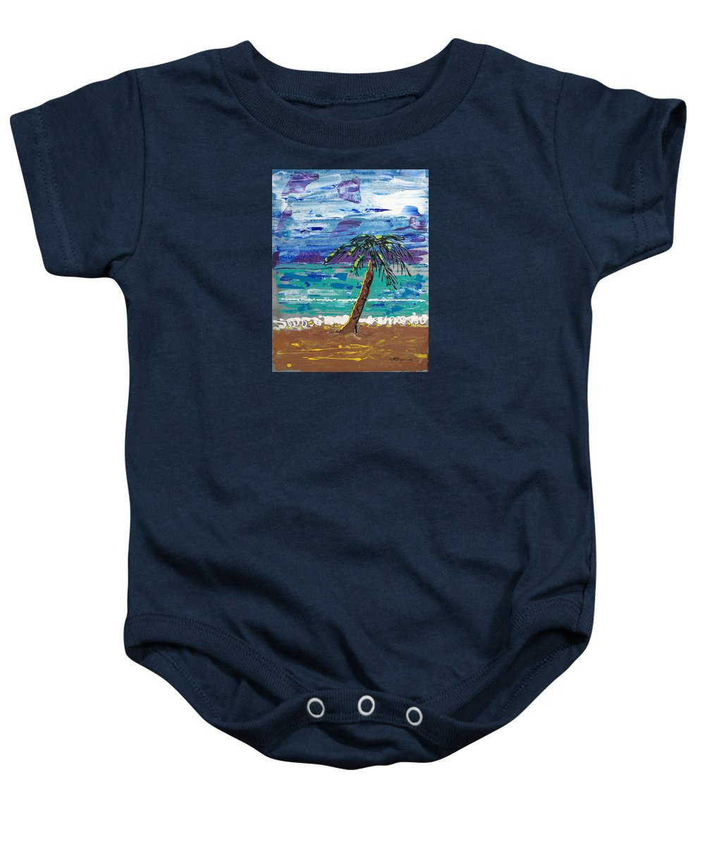 Palm Tree Baby Onesie featuring the painting Palm Beach by J R Seymour