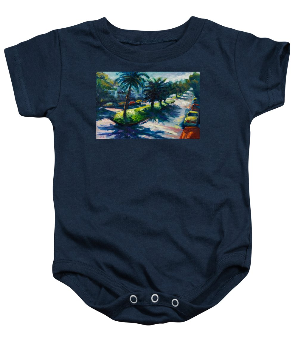 Cityscape Baby Onesie featuring the painting Palm Trees by Rick Nederlof