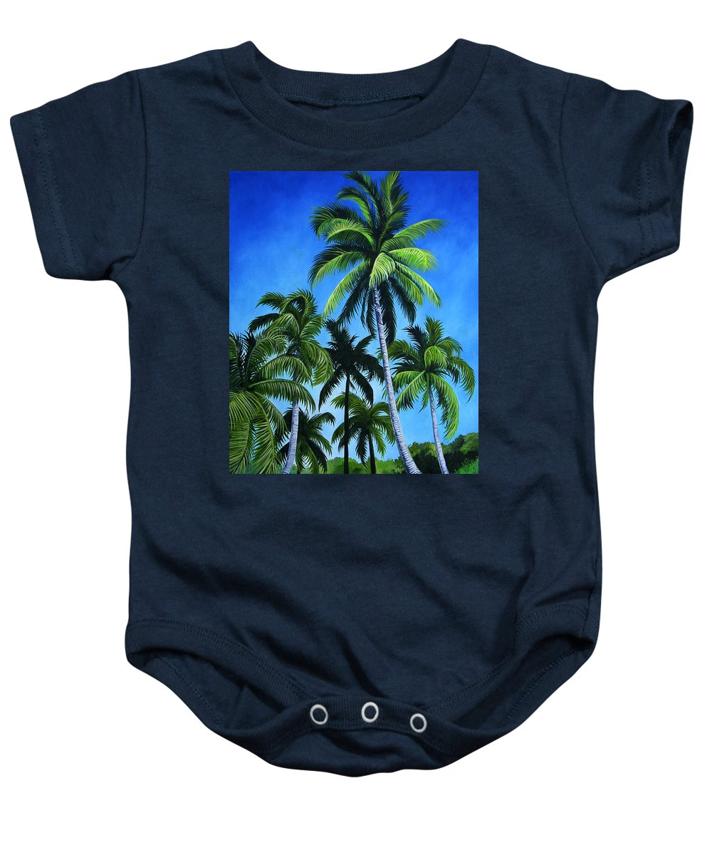 Palms Baby Onesie featuring the painting Palm Trees Under A Blue Sky by Juan Alcantara