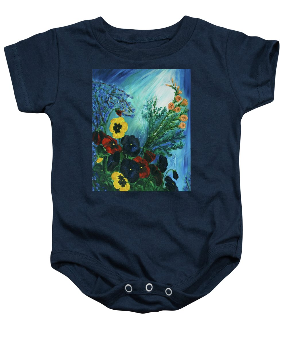 Fairies Baby Onesie featuring the painting Pansies And Poise by Jennifer Christenson
