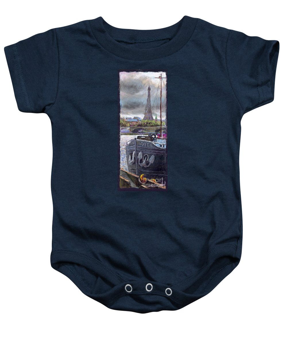 Pastel Baby Onesie featuring the painting Paris Pont Alexandre IIi by Yuriy Shevchuk