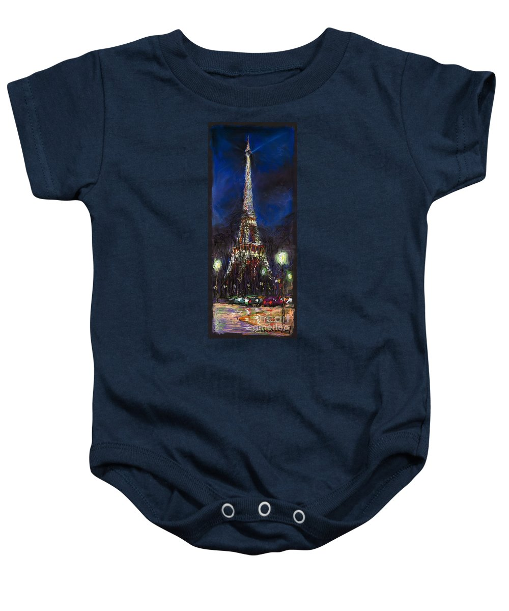 Pastel Baby Onesie featuring the painting Paris Tour Eiffel by Yuriy Shevchuk