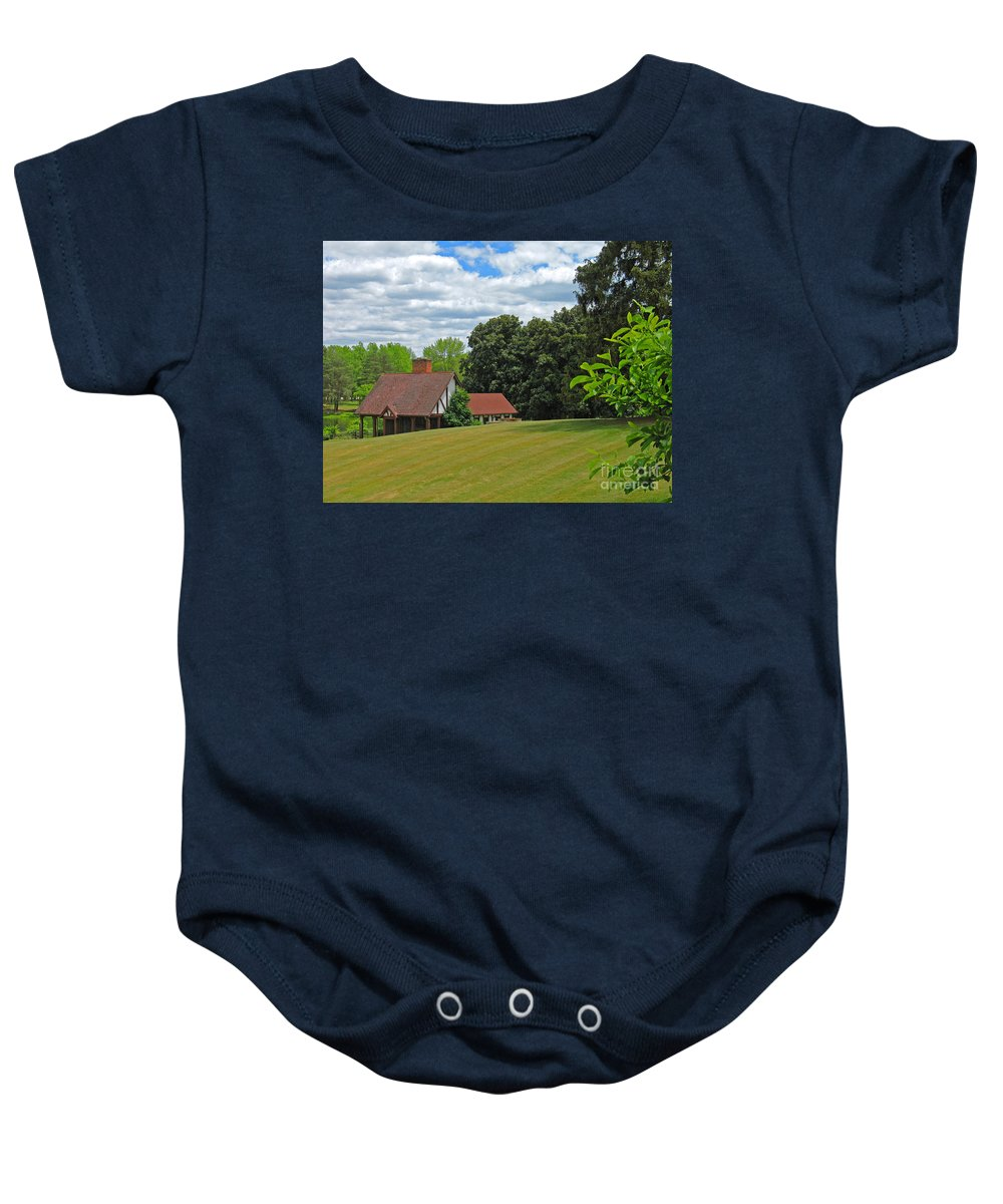 Landscape Baby Onesie featuring the photograph Parkland Cottage by Ann Horn