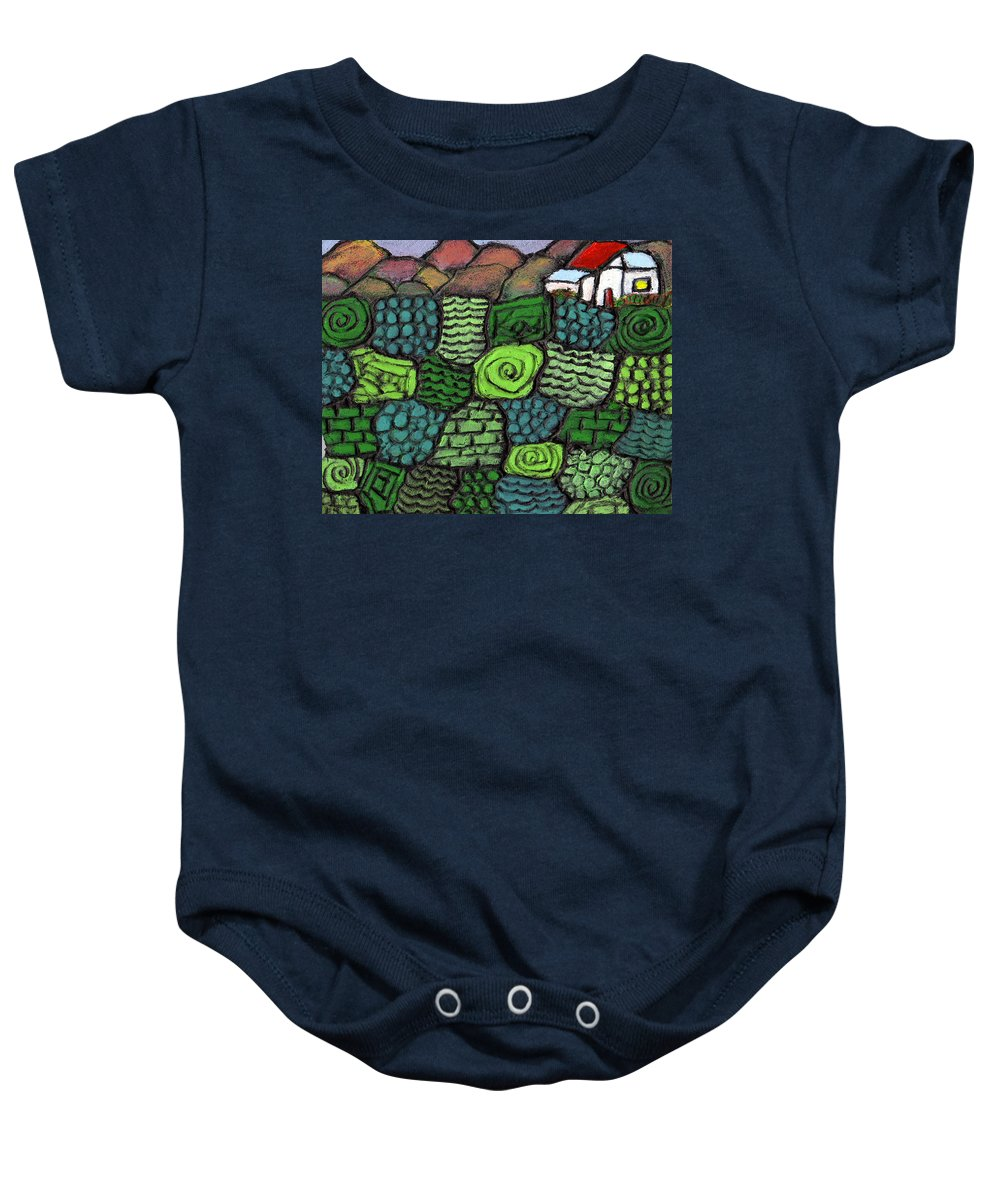 Green Baby Onesie featuring the painting Patches Of Green by Wayne Potrafka