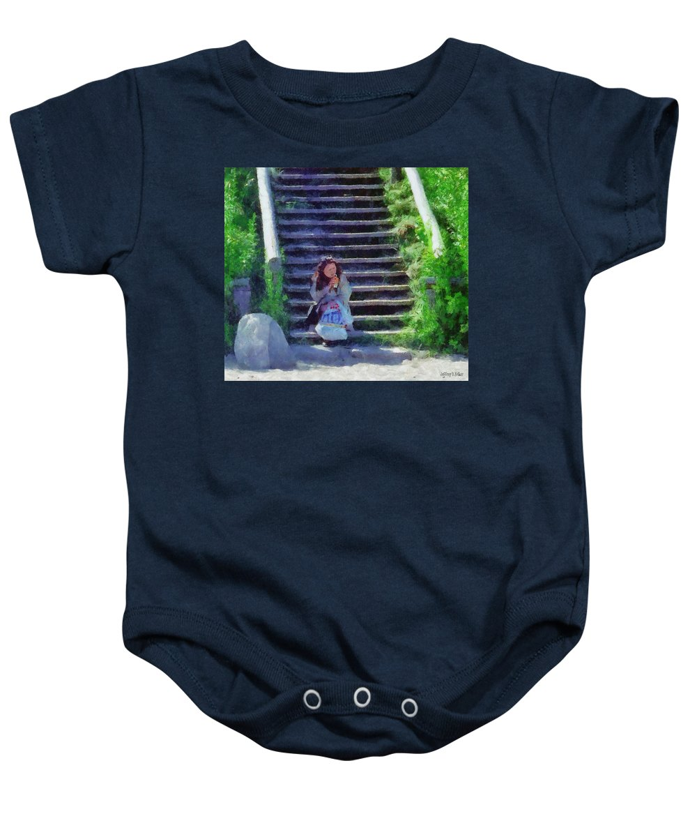 Woman Baby Onesie featuring the painting Patiently Waiting by Jeffrey Kolker