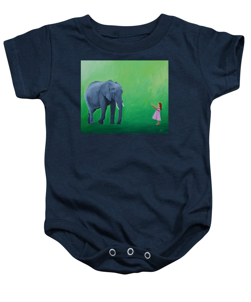 Elephant Baby Onesie featuring the painting Peace Offering by Emily Page