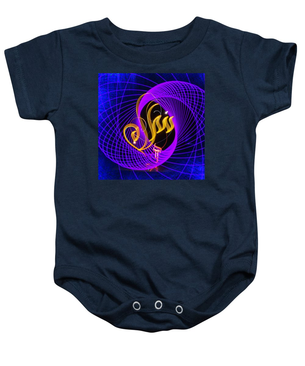 Light Painting Baby Onesie featuring the photograph Peace - Salam In Arabic by Jz Aamir