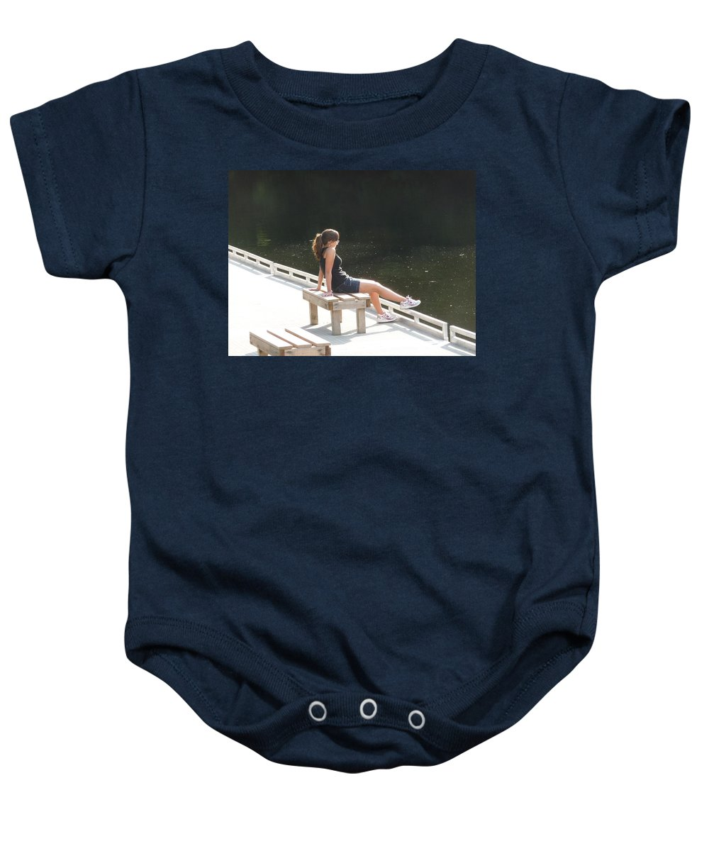 Pretty Girl Baby Onesie featuring the photograph Pensive by Ruth Kamenev