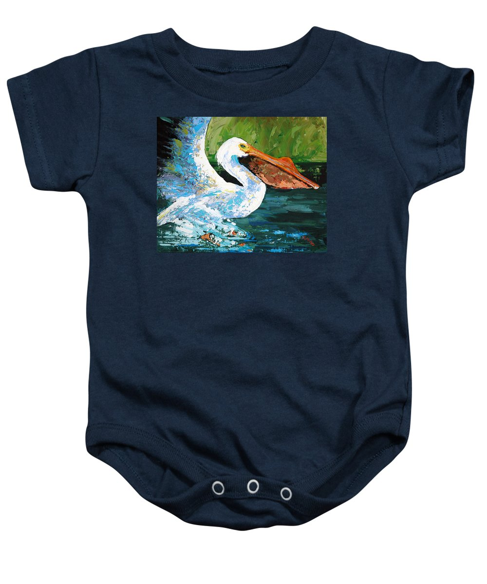 Acrylic Baby Onesie featuring the painting Pete Coming In For A Landing by Suzanne McKee