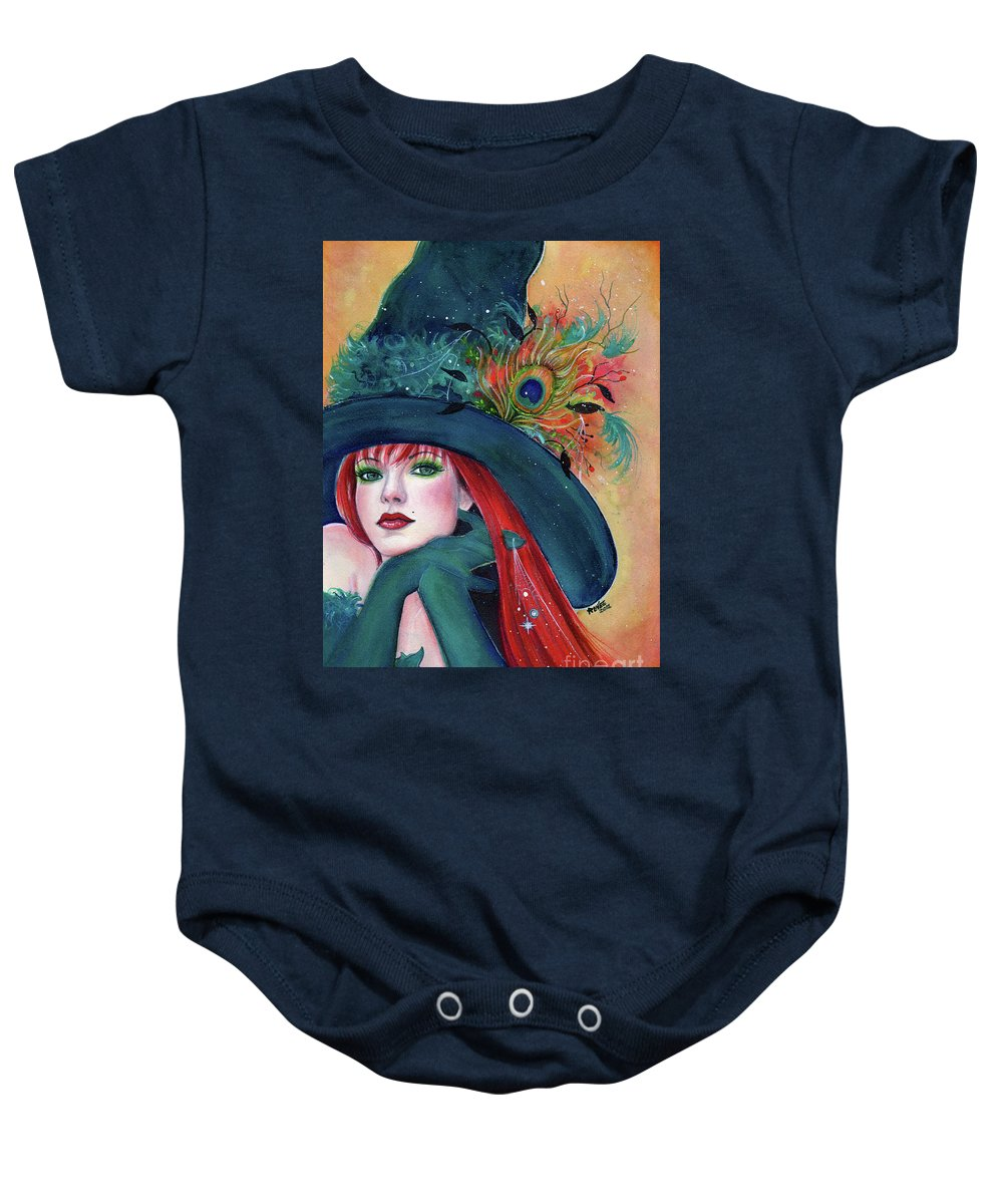 Witch Baby Onesie featuring the painting Pia Dora Witch by Renee Lavoie