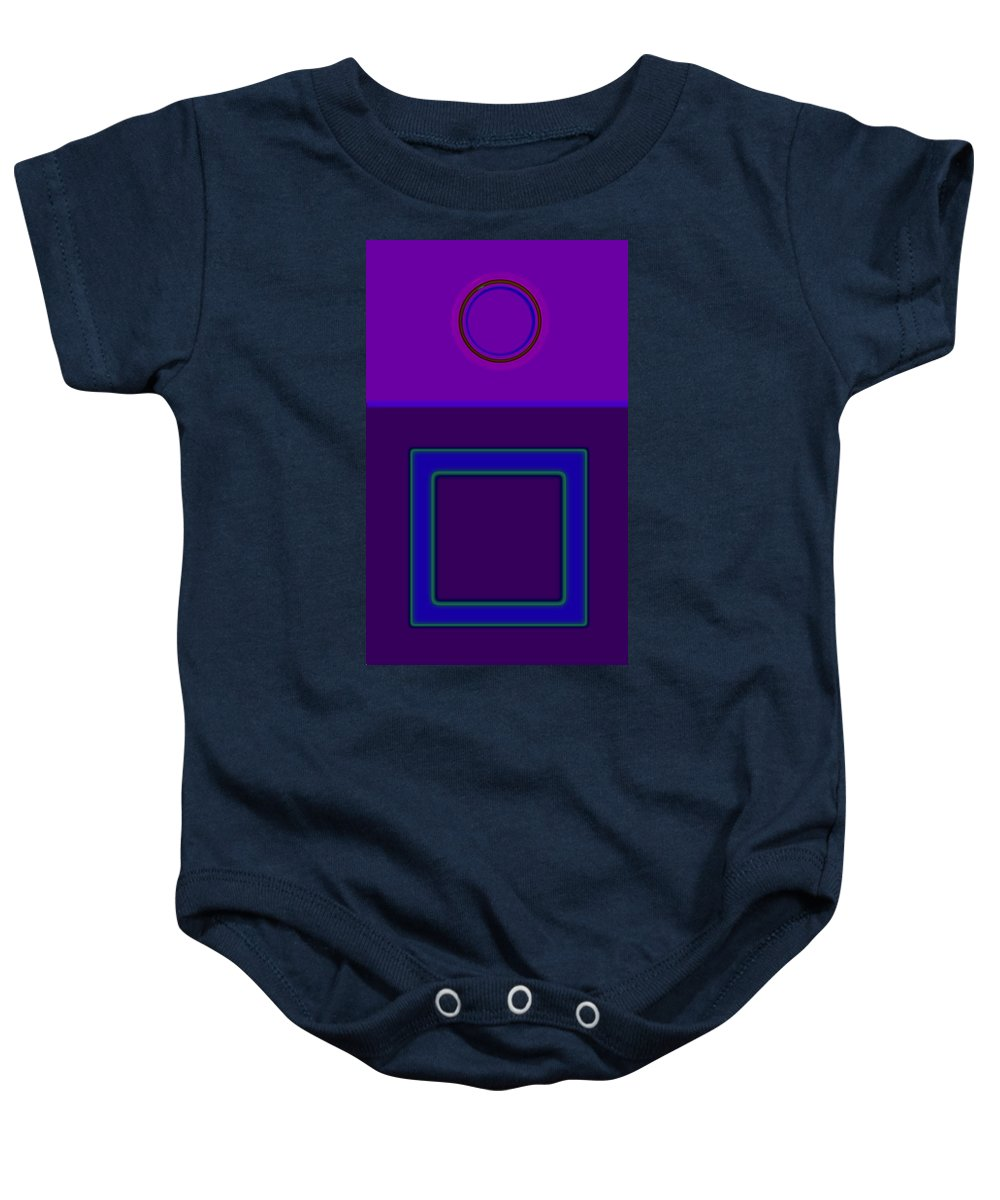 Classical Baby Onesie featuring the digital art Piazza Purple by Charles Stuart