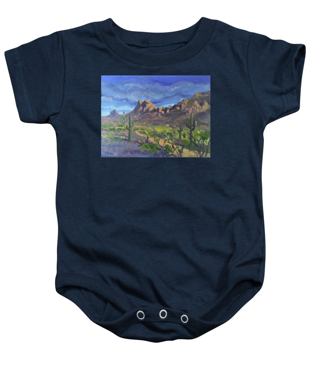 Desert Baby Onesie featuring the painting Picacho Peak by Ralph Papa
