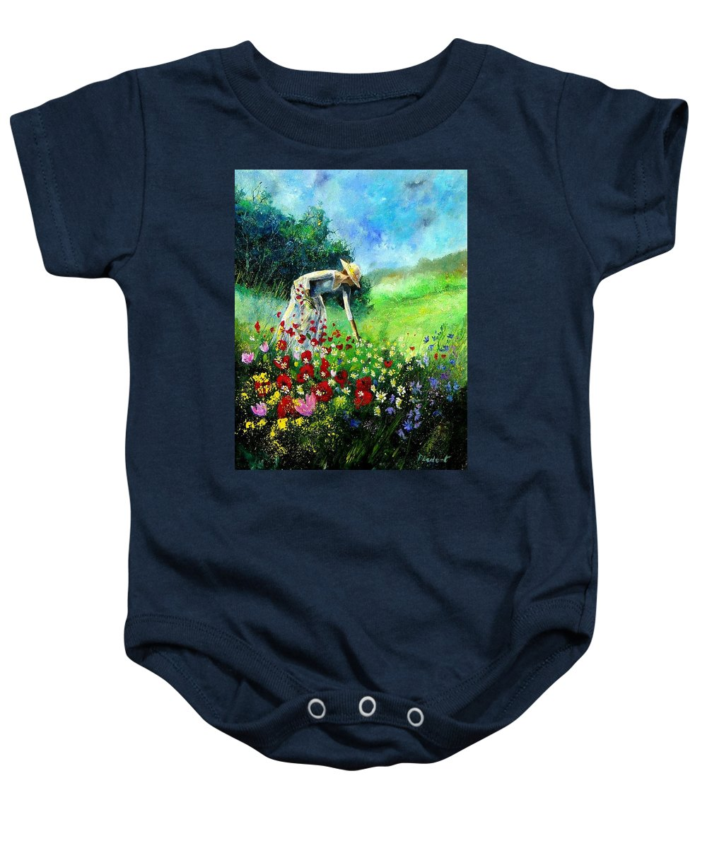 Poppies Baby Onesie featuring the painting Picking Flower by Pol Ledent