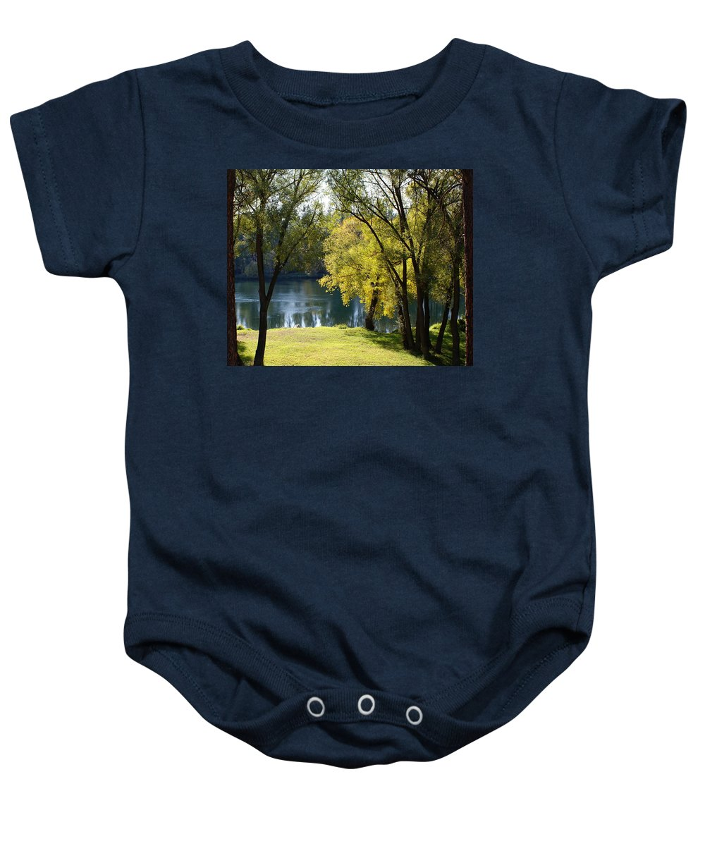 Nature Baby Onesie featuring the photograph Picnic Spot On Spokane River by Ben Upham III
