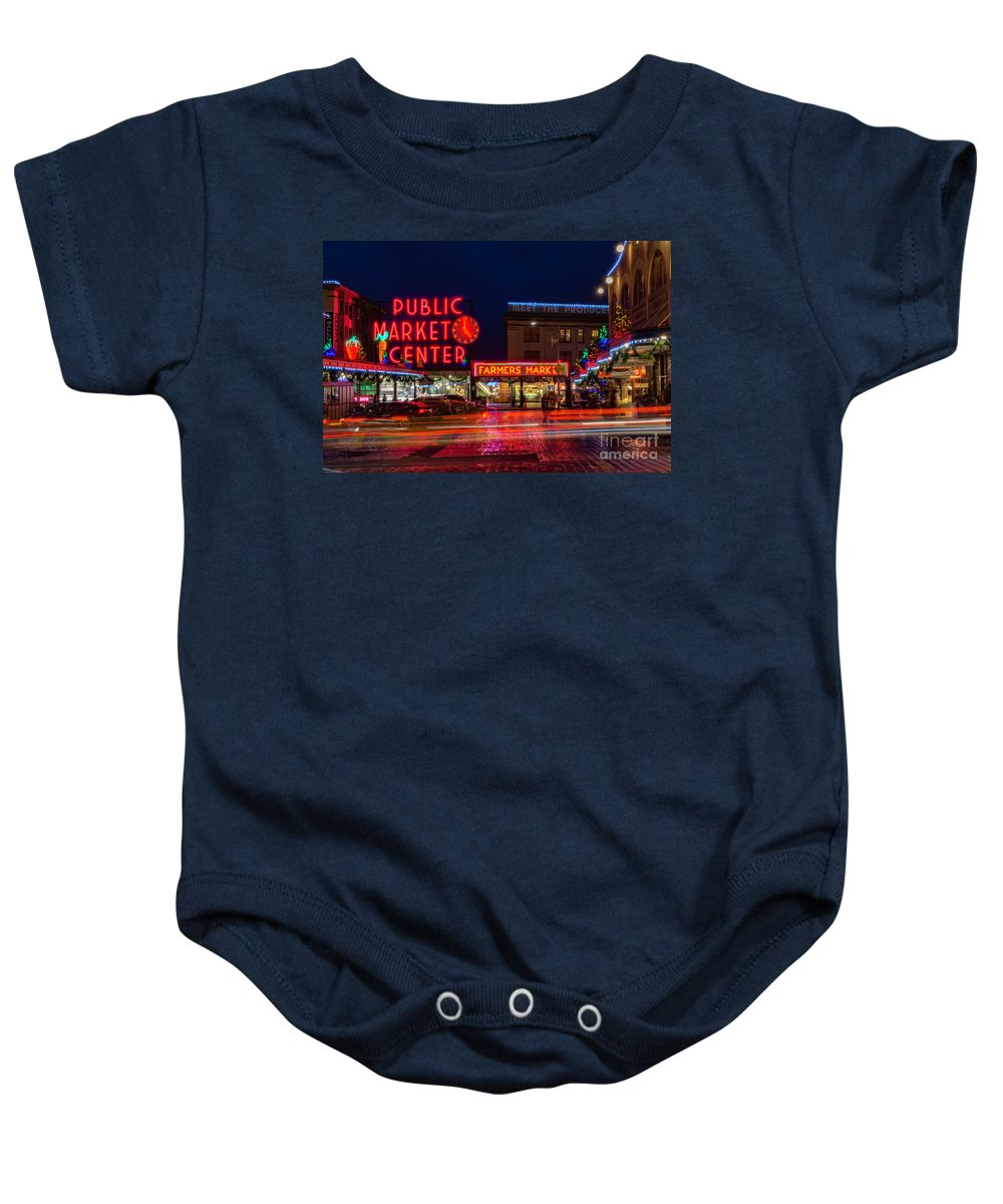 Pikes Place Market Baby Onesie featuring the photograph Pikes Place Market by Celeste Shuler