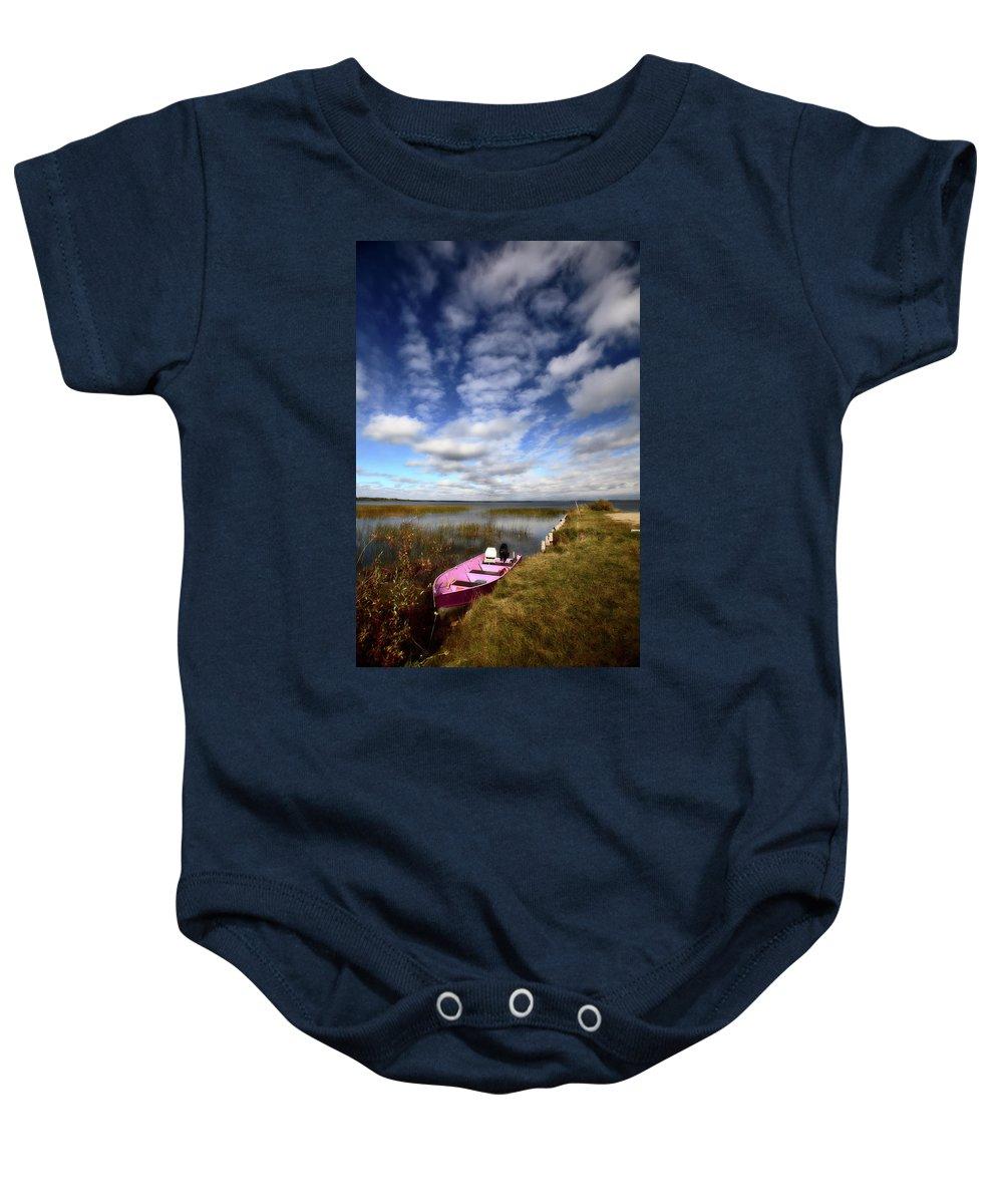 Pink Baby Onesie featuring the digital art Pink Boat In Scenic Saskatchewan by Mark Duffy