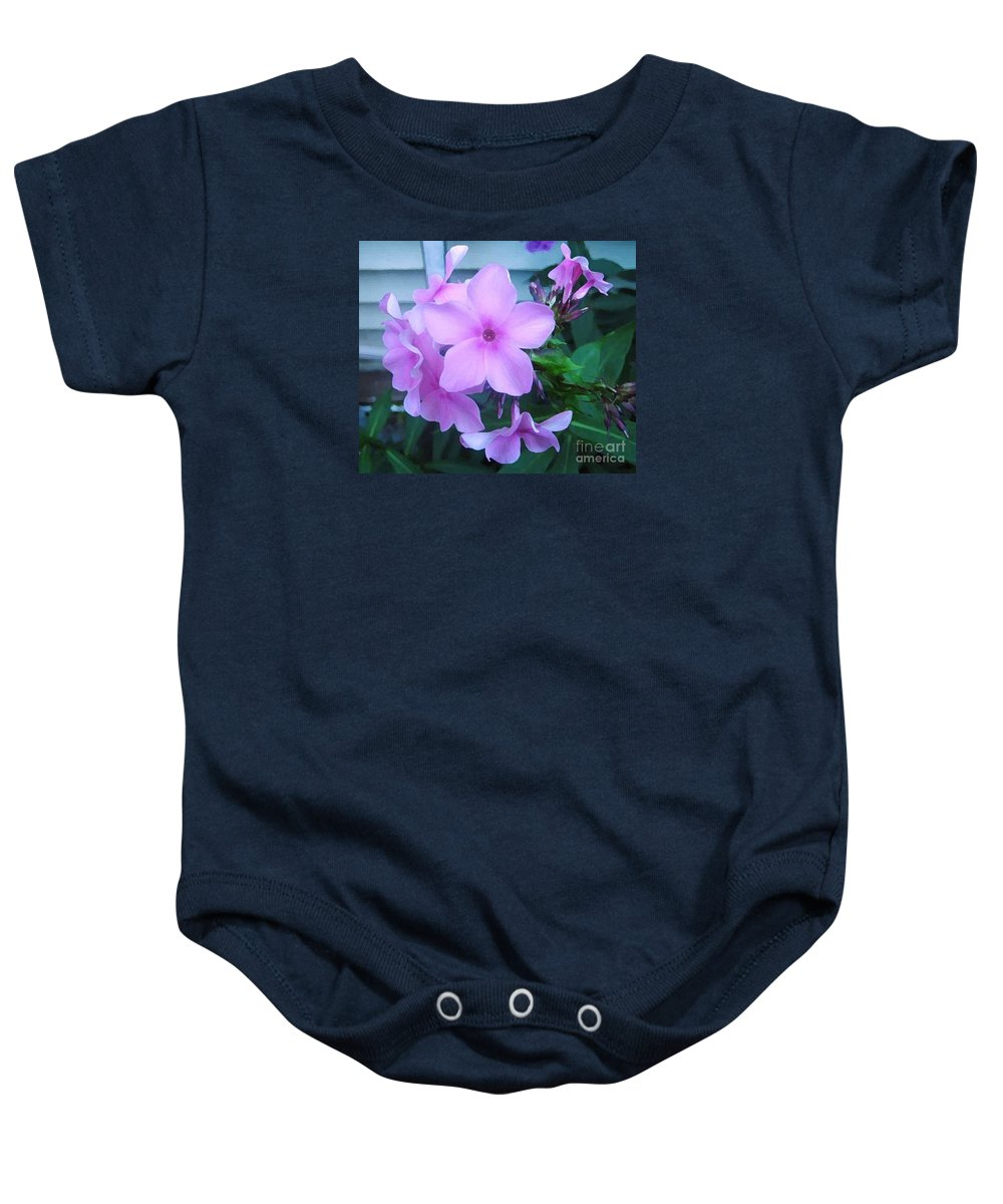 Pink Flowers Artwork Baby Onesie featuring the photograph Pink Flowers In The Garden by Reb Frost