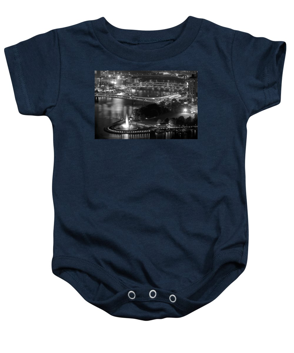 Pittsburgh Baby Onesie featuring the photograph Point State Park In Black And White by Frozen in Time Fine Art Photography