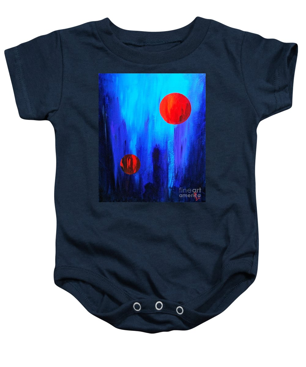 Abstracts Red And Blue By Herschel Fall Baby Onesie featuring the painting Points Of Interest by Herschel Fall