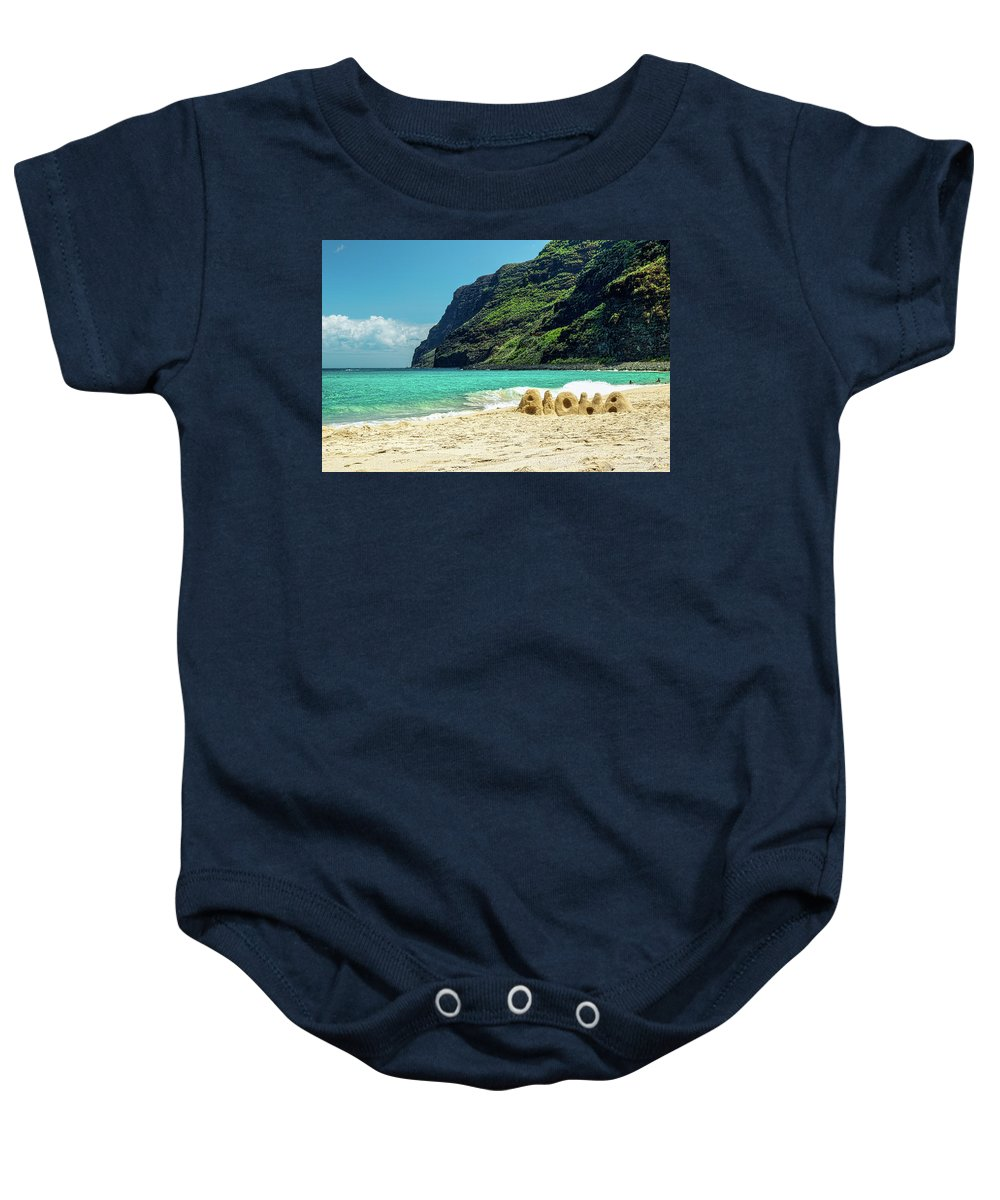 Polihale Baby Onesie featuring the photograph Polihale Aloha by Gary Eyring