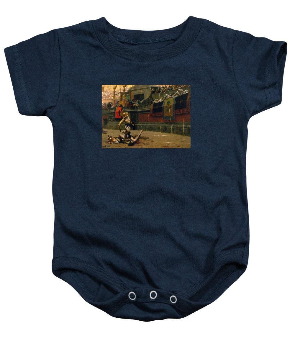 Pollice Verso Baby Onesie featuring the painting Pollice Verso by War Is Hell Store