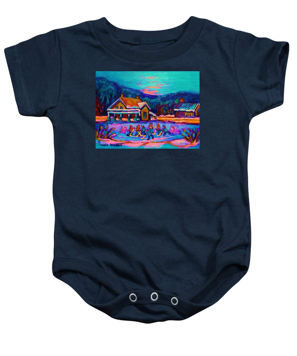 Pond Hockey Baby Onesie featuring the painting Pond Hockey Two by Carole Spandau