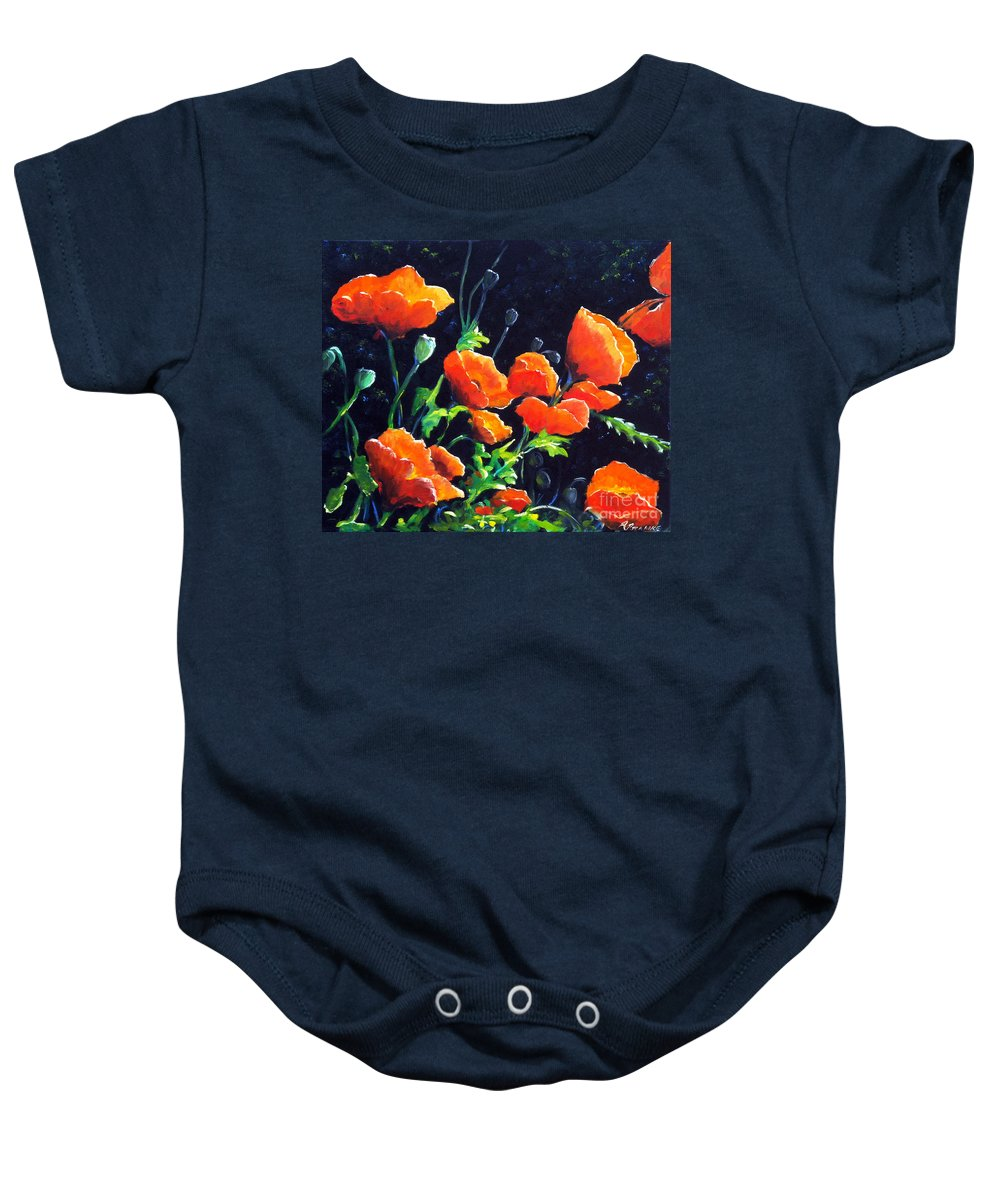 Pavot Baby Onesie featuring the painting Poppies In The Light by Richard T Pranke