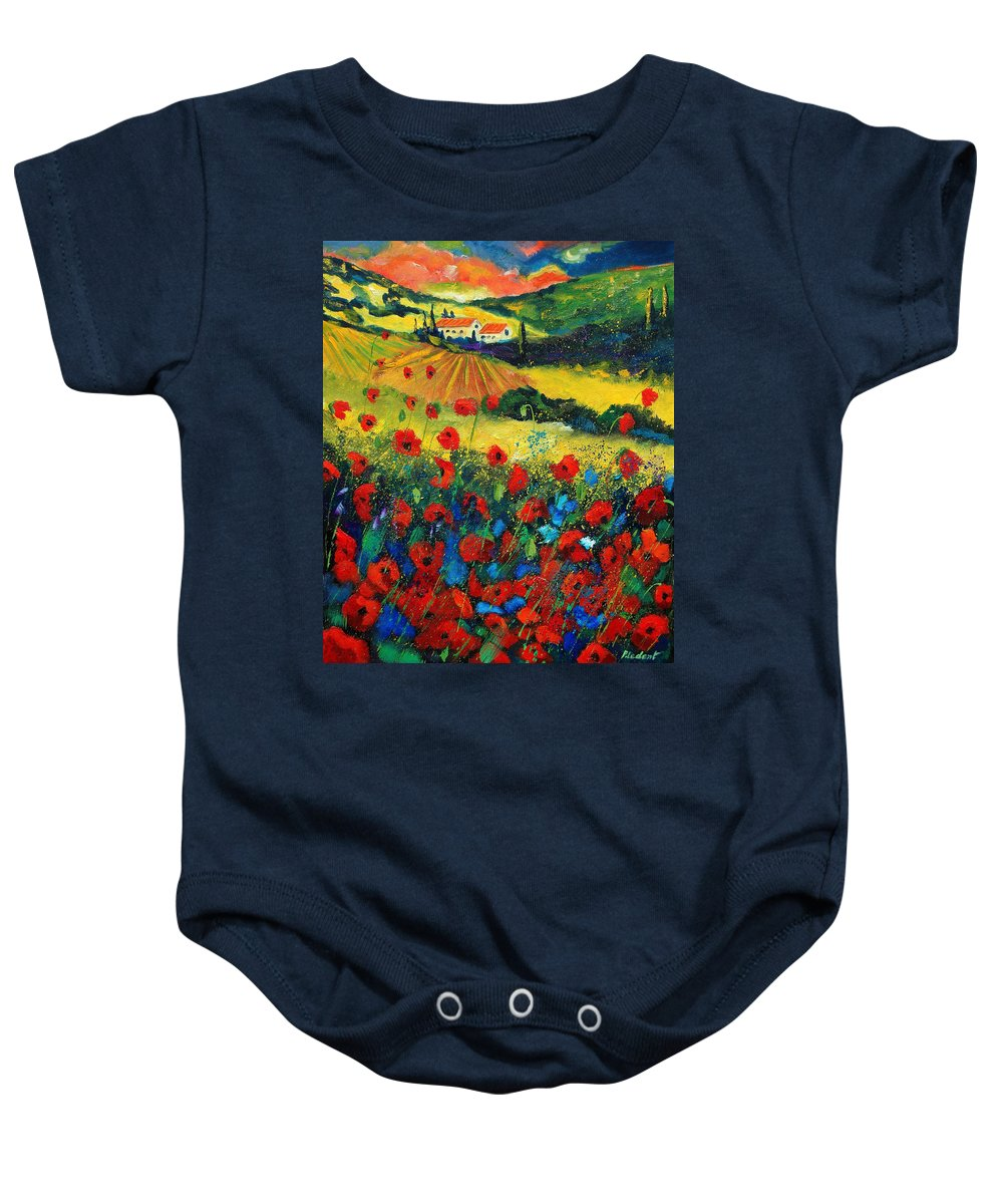 Flowers Baby Onesie featuring the painting Poppies In Tuscany by Pol Ledent